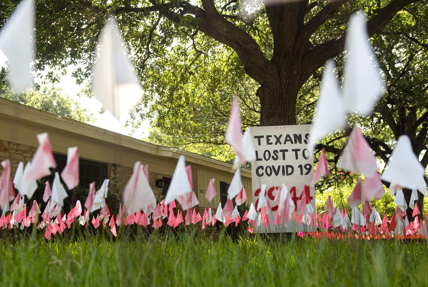 Flags representing the Texans who have died because of COVID-19 are placed outside of a North Austin home on July 10, 2020 i…