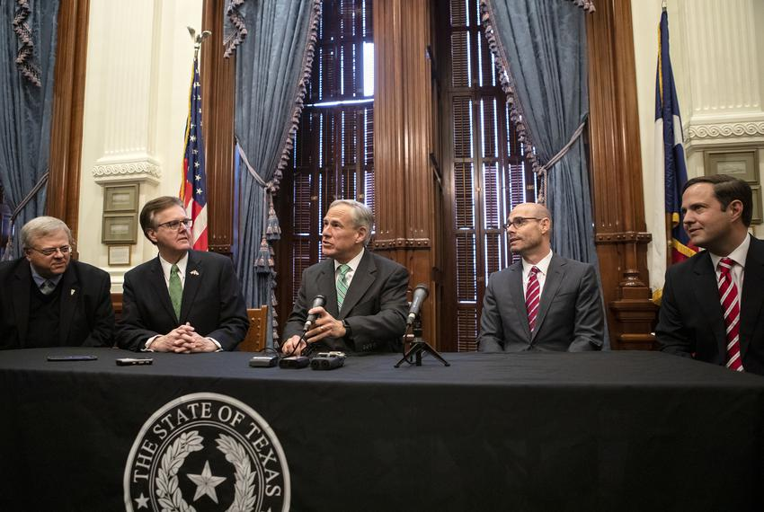 From left: Sen. Paul Bettencourt, R-Houston; Lt. Gov. Dan Patrick; Gov. Greg Abbott; House Speaker Dennis Bonnen, R-Angleton…