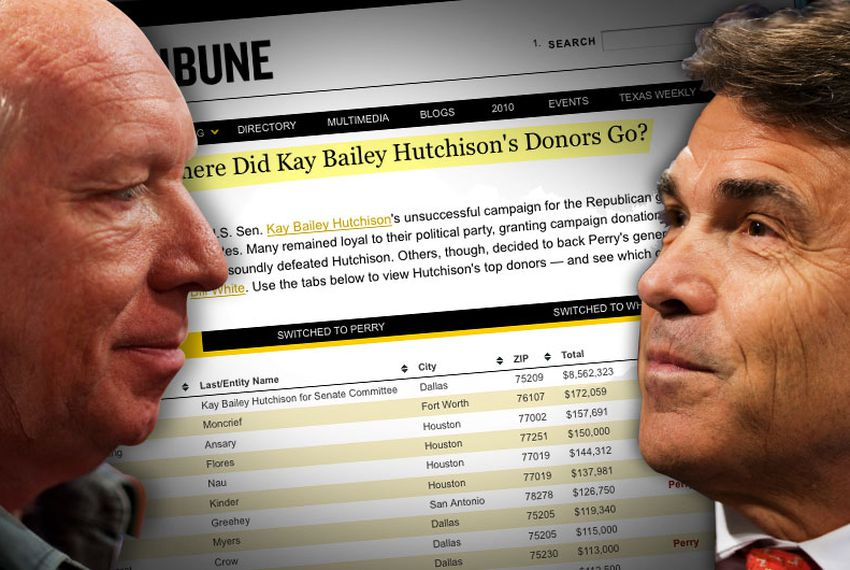 Numerous contributors who supported U.S. Sen. Kay Bailey Hutchison's unsuccessful campaign for the Republican gubernatorial nomination in March are now backing other candidates.