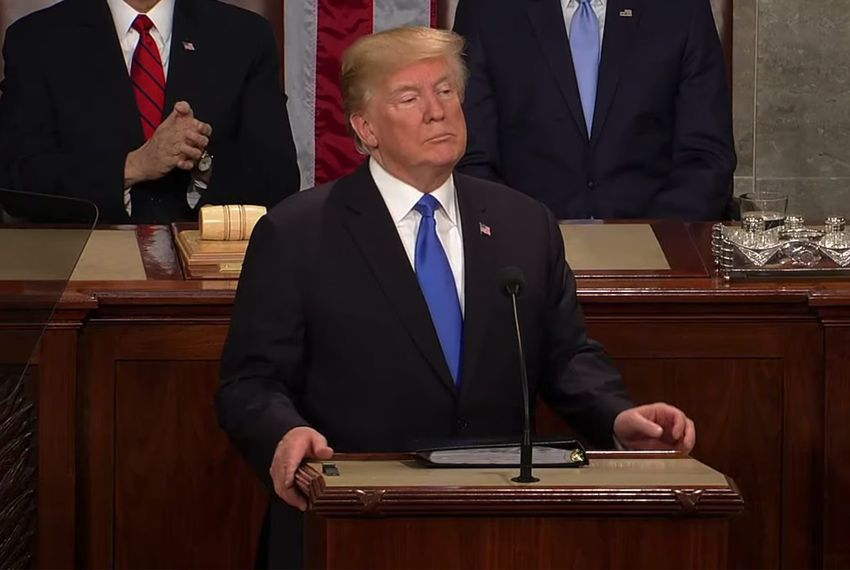 President Donald Trump delivers the State of the Union address on Jan. 30, 2018.