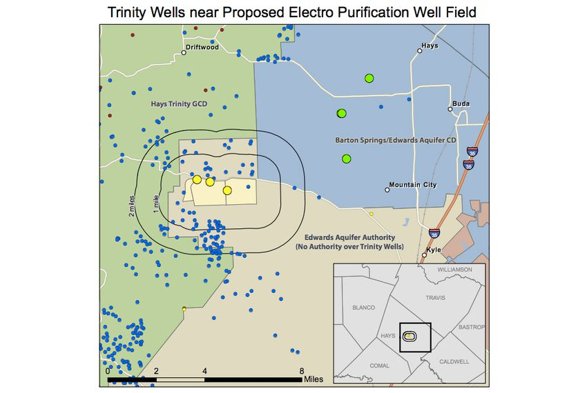 Electro Purification's wells (the yellow dots on the map) are outside any regulator's purview. They're also near many other wells that depend on the Trinity Aquifer (the blue and green dots).