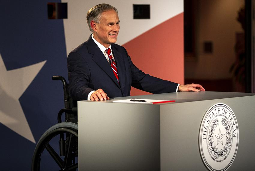 Texas Governor Greg Abbott smiles before a gubernatorial debate against his Democratic challenger Lupe Valdez at the LBJ L...