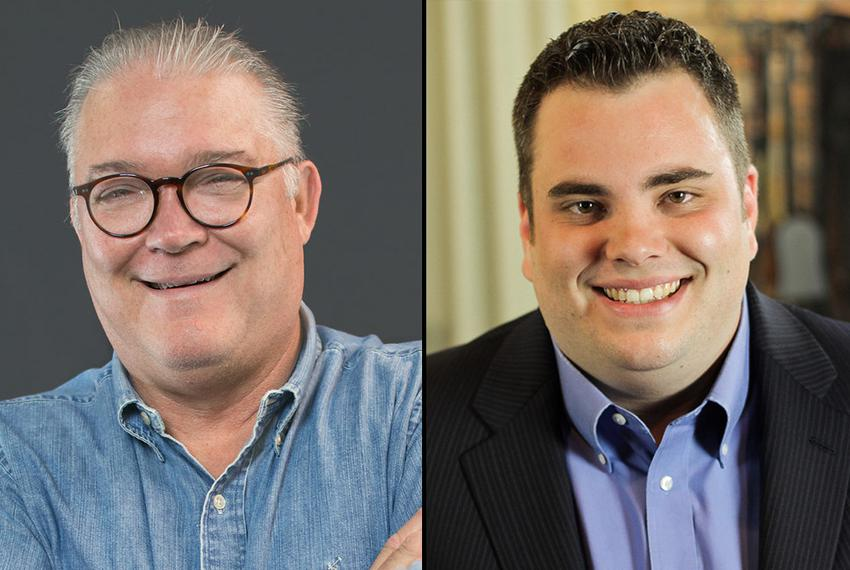 Republicans Scott W. Fisher, left, and incumbent Jonathan Stickland, right, run in the 2016 election for Texas House Distric…