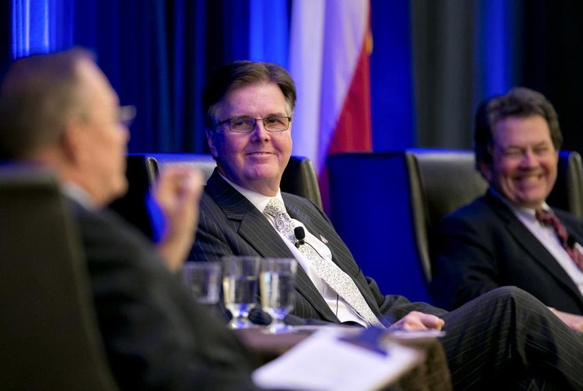 Lt. Gov.-elect Dan Patrick listens to Kent Grusendorf at a session of the Texas Public Policy Foundation's policy orientat...