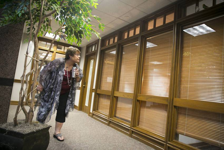 Dorothy Thompson sets out special treats for the birds in the Moore/Connally Building in College Station on Wednesday, Aug...