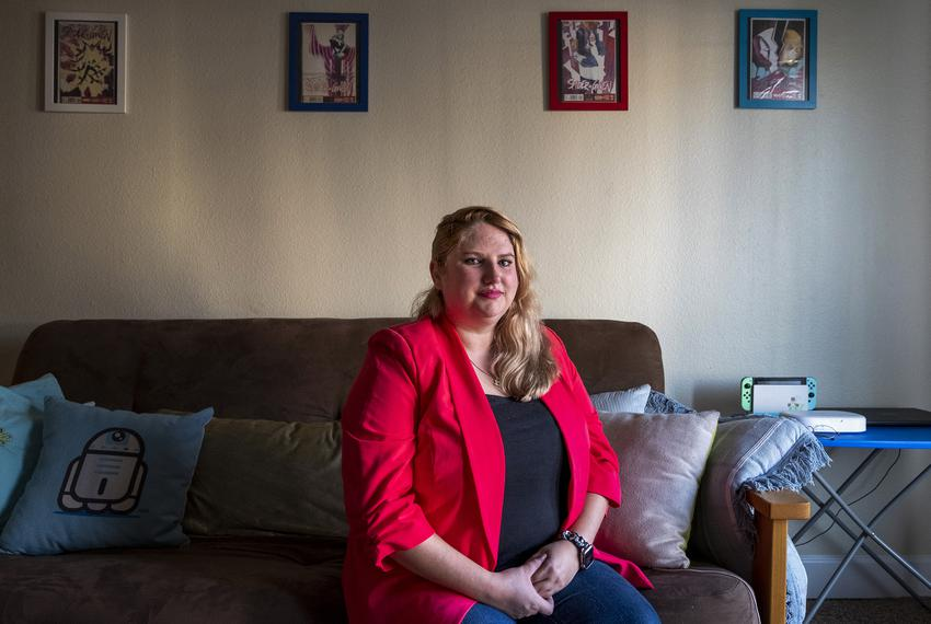 Sarah Riffel sits for her portrait in her apartment in Odessa Texas where she practices law as the cities prosecutor.