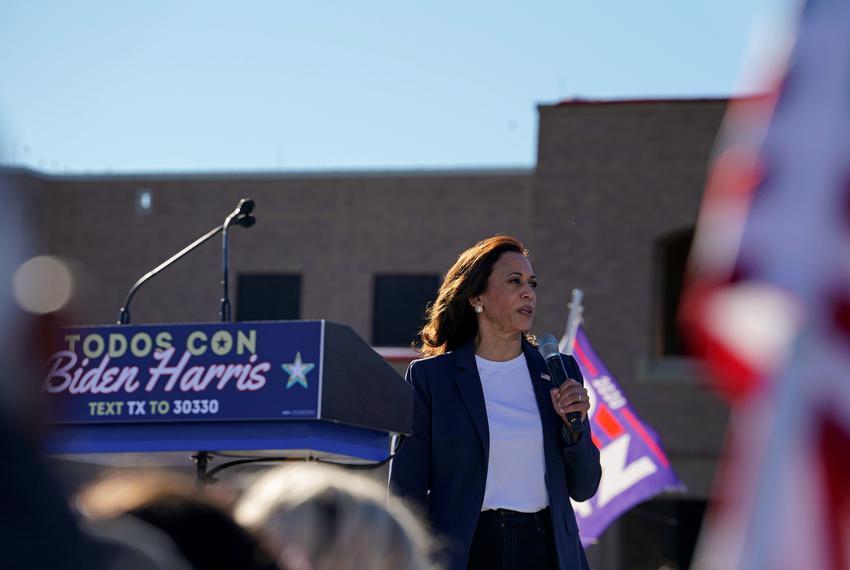 U.S. Democratic vice presidential nominee Senator Kamala Harris speaks during a campaign event in Edinburg on Oct. 30, 2020.