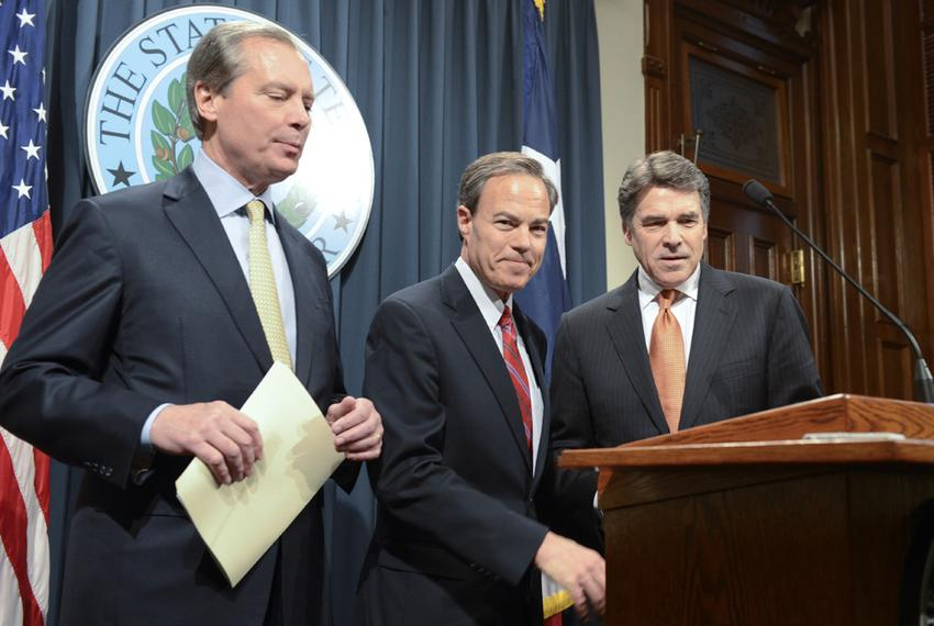 Lt. Gov. David Dewhurst (left), House Speaker Joe Straus and Gov. Rick Perry met with reporters on Jan. 9, 2013, the second …