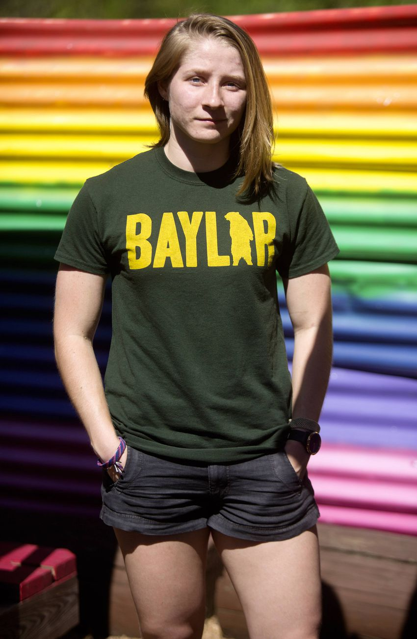 Baylor senior Anna Conner in Cypress on June 12, 2019. Conner's campus LGBT organization, called Gamma Alpha Upsilon, or G...
