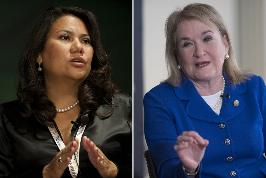 Former El Paso County Judge Veronica Escobar and state Sen. Sylvia Garcia, D-Houston.