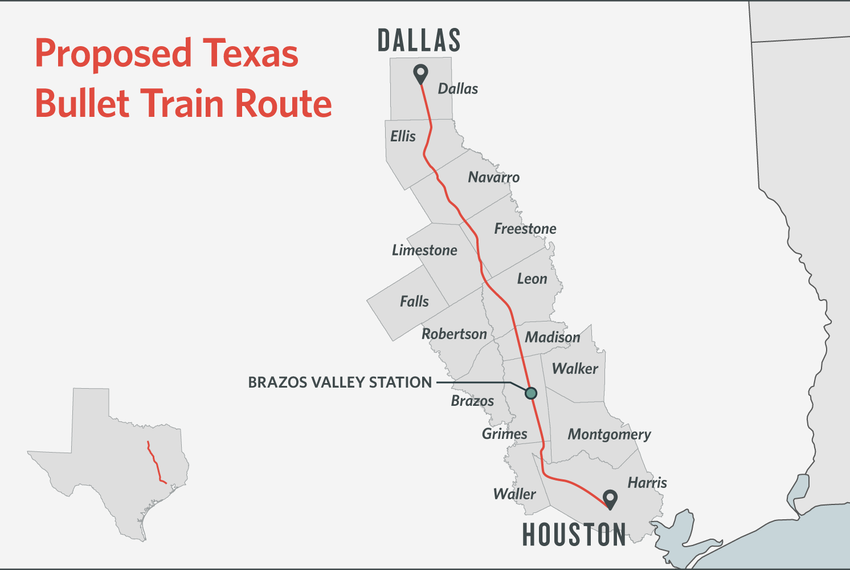 Central Texas Partners released this map showing the likely route of a high-speed rail line between Dallas and Houston.