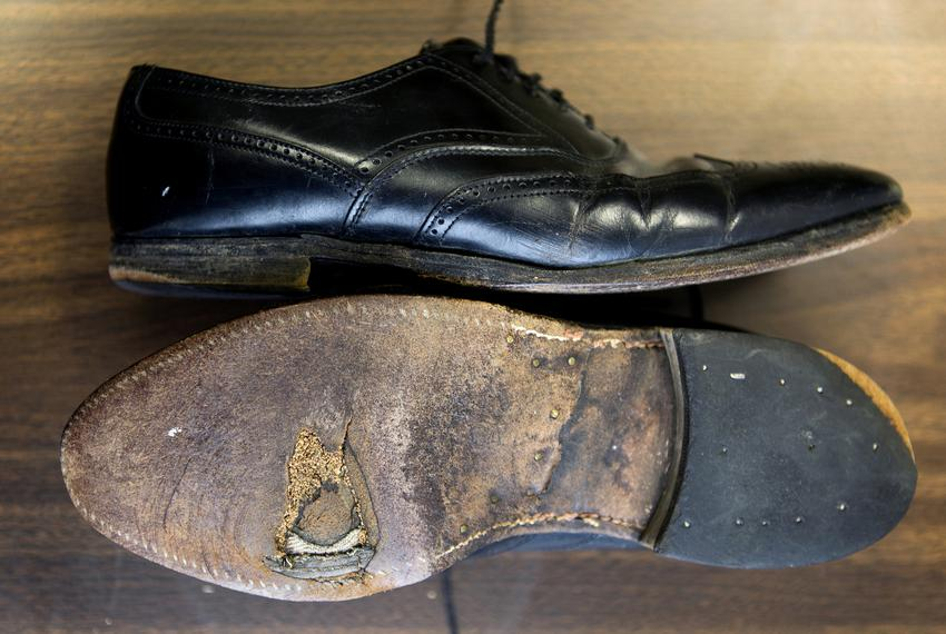 The soles are worn on the pair of shoes state Rep. Dennis Bonnen, R-Angleton, wore in his first bid for a House seat in 19...