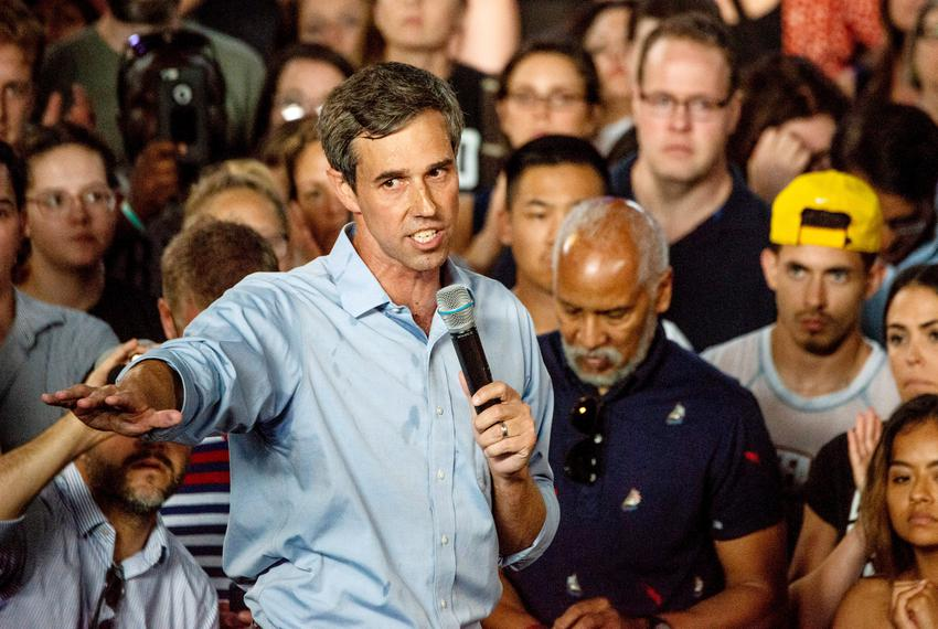 Presidential candidate Beto O'Rourke addresses a crowd at Marathon Music Works in Nashville, Tennessee on Sunday, July 7, 20…