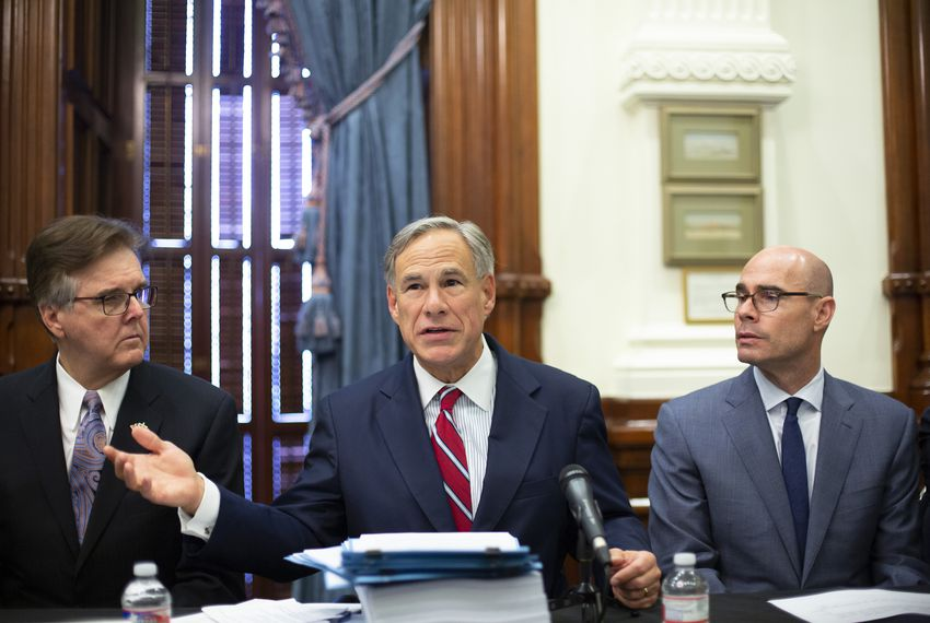 Gov. Greg Abbott, Lt. Gov. Dan Patrick and House Speaker Dennis Bonnen held the first meeting of the Texas Safety Commission at the Texas Capitol on Aug. 22, 2019.