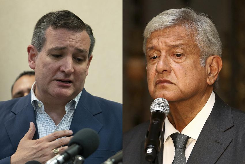 U.S. Sen. Ted Cruz (left) and newly elected Mexican President Andrés Manuel López Obrador.