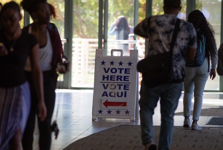 Early voting inside the Memorial Student Center at Prairie View A&M University.