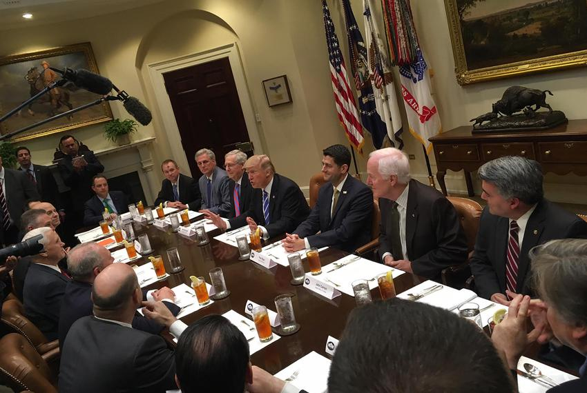 GOP leadership lunch in the Roosevelt Room at the White House. U.S. Sen. John Cornyn, R-Texas, is seated second from top r...