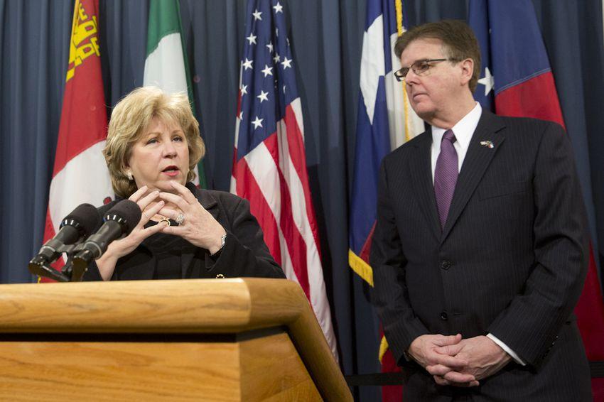 Sen. Jane Nelson R-Flower Mound, together with Lt. Gov. Dan Patrick, hold a press conference on the budget on Jan. 27, 2014.