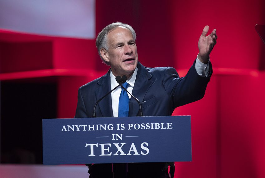 Gov. Greg Abbott gives a keynote speech at the Republican Party of Texas convention in San Antonio on June 15.