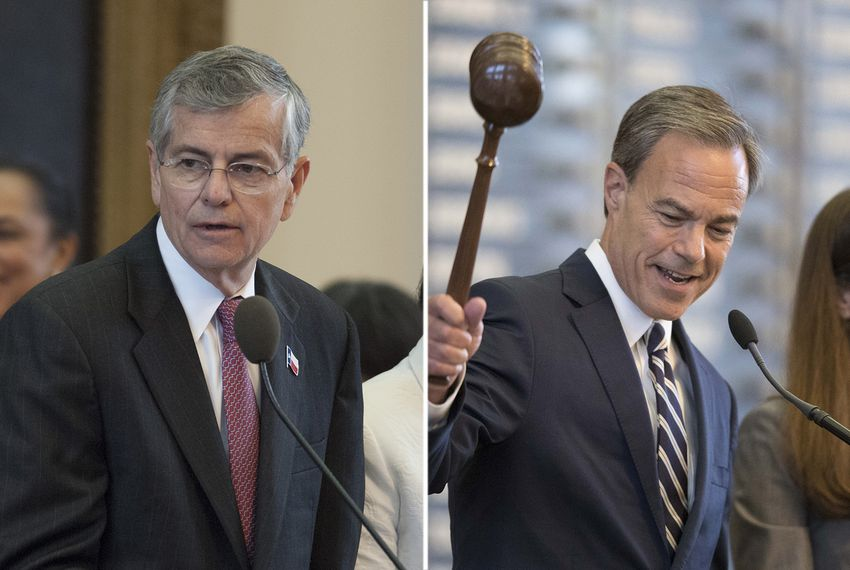 (Left) House Speaker Tom Craddick at the House dais on May 25, 2007. (Right)House Speaker Joe Straus adjourns the House sine die on thefinal day of the special session of the 85th Legislature on Aug. 15, 2017.