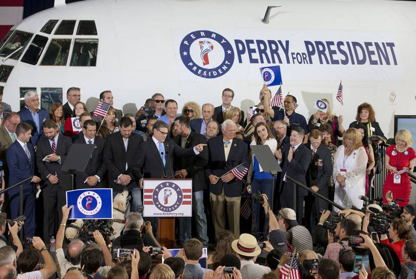The plane serving as the backdrop for Perry's announcement was a C-130, the same type of plane he flew in missions in Euro...