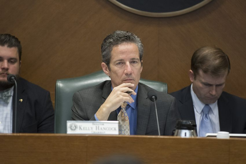 State Sen. Kelly Hancock, R-North Richland Hills, chairman of the Business & Commerce Committee, at a hearing on March 9, 2017.