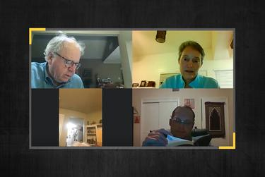 George Barlow, Tracie Middleton, Cindy Hoffmeister and David Schones of Trinity Episcopal Church in Fort Worth participate in a religious service over video call.