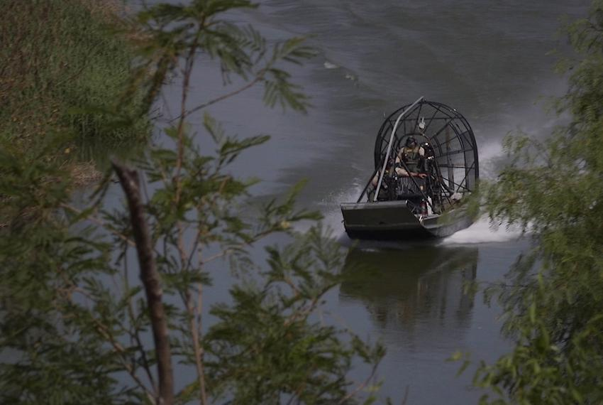 United States Border Patrol agents patrol a portion of the Rio Grande river between Roma, Texas and Miguel Aléman, Tamaulipa…