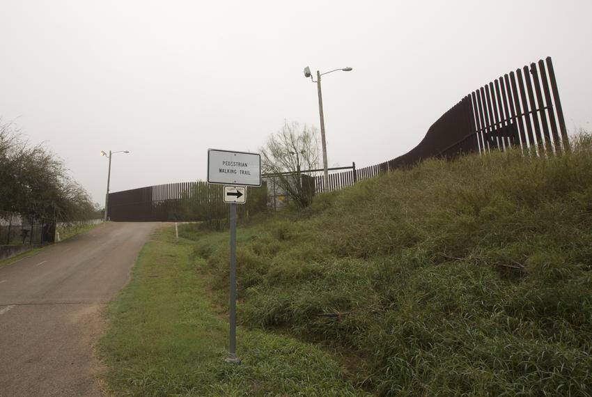 Area with border wall inside the Old Hidalgo Pumphouse birding center in Hidalgo, Texas
