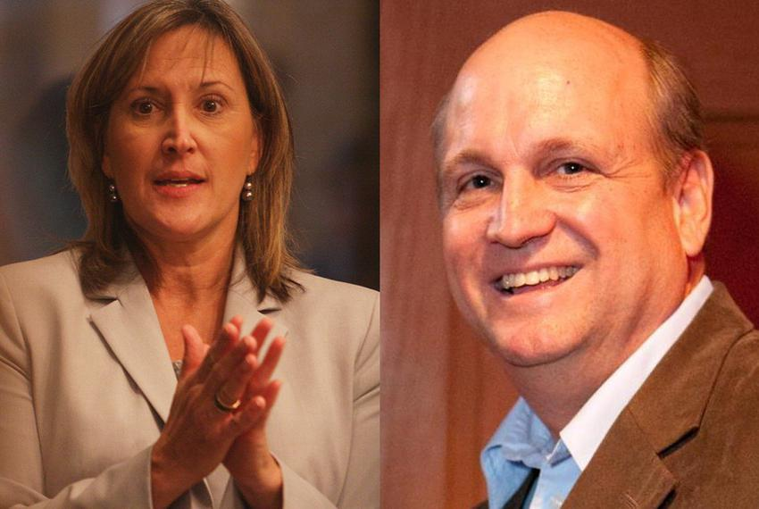 Tea Party candidate Konni Burton and former state Rep. Mark Shelton are vying to represent Senate District 10 in a Republica…