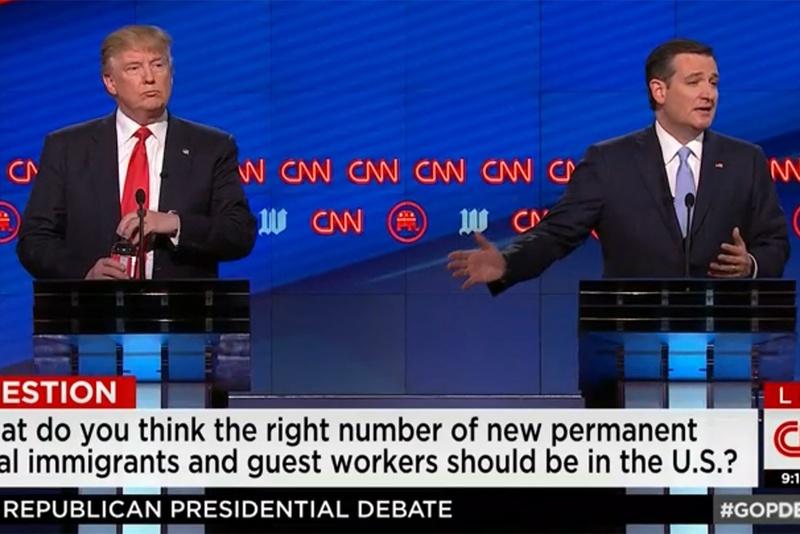 Billionaire businessman Donald Trump and U.S. Sen. Ted Cruz at the GOP debate in Miami, Florida on March 10, 2016.
