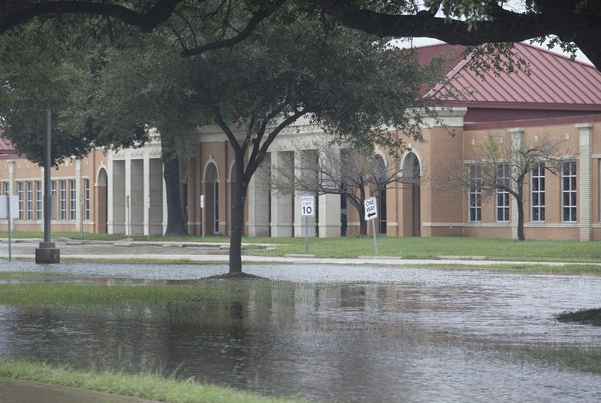 A school in the Cypress-Fairbanks School District in Houston surrounded by water on Wednesday, Aug. 30, 2017.