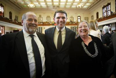 State Rep. James Talarico with his parents on the Texas House floor Tuesday.