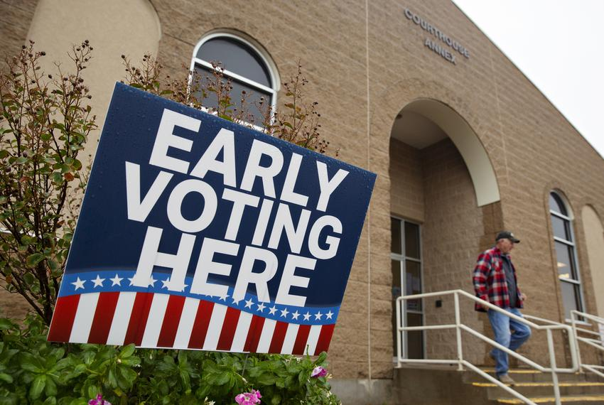 A voter leaves the early voting site at the Archer Courthouse Annex in Archer on Oct. 28, 2020.