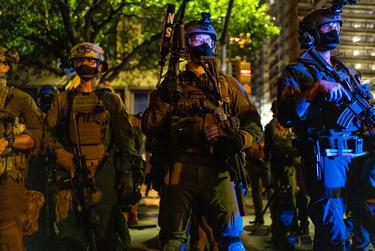 Heavily armed state police in downtown Austin on Aug. 1, 2020.