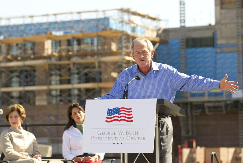 "Former President George W. Bush speaks at the ""topping out"" ceremony at the construction site of the George Bush Presidentia…"