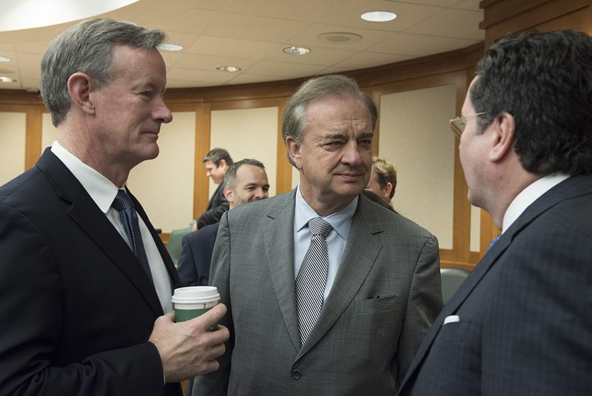 Texas chancellors William McRaven of UT, John Sharp of Texas A&M and Brian McCall of Texas State at the Senate Higher Education Committee meeting on April 26, 2016.
