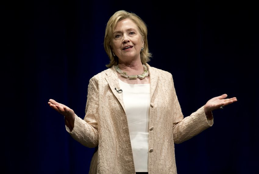 Hillary Clinton speaks at the Long Center in Austin on Friday night.