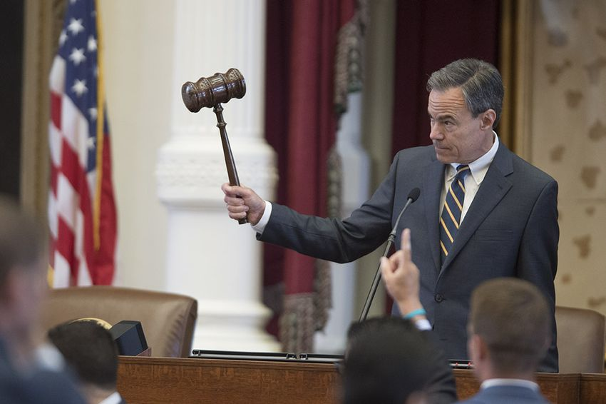 House Speaker Joe Straus gavels the vote on an amendment to HB 100 on April 19, 2017. The bill is being debated with several amendments that would regulate ride-hailing services with uniform regulations statewide.