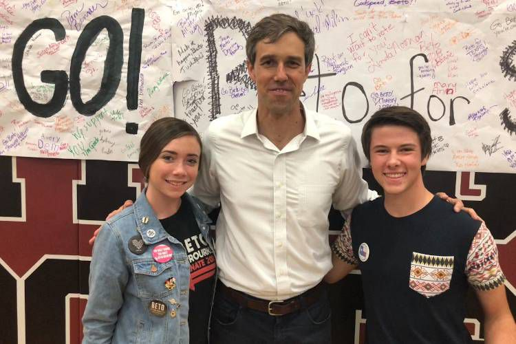 From left: Autumn Lanning, Beto O'Rourke and Bryant Young.