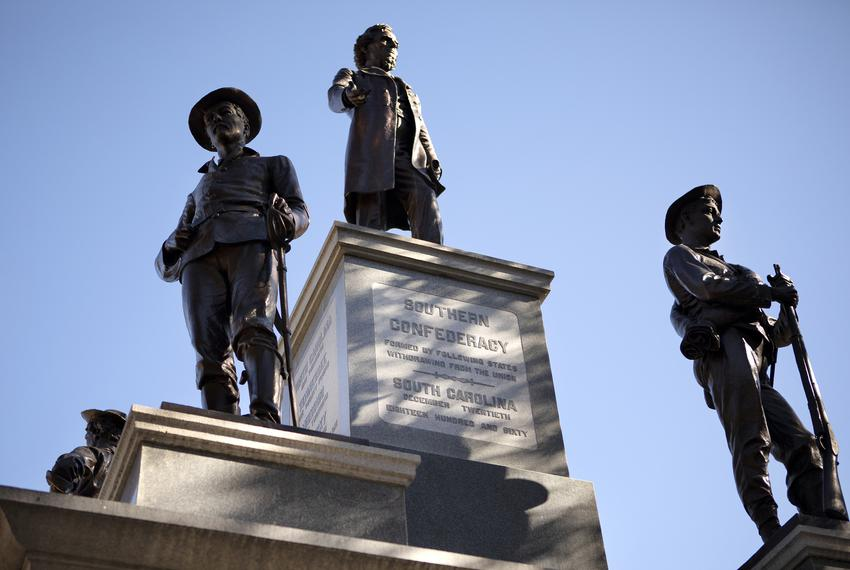 The 1903 Confederate monument at the south entrance to the state Capitol grounds.