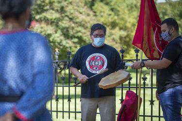 Members of the Alabama-Coushatta Tribe rallied outside of the Capitol today to help increase voter turnout.