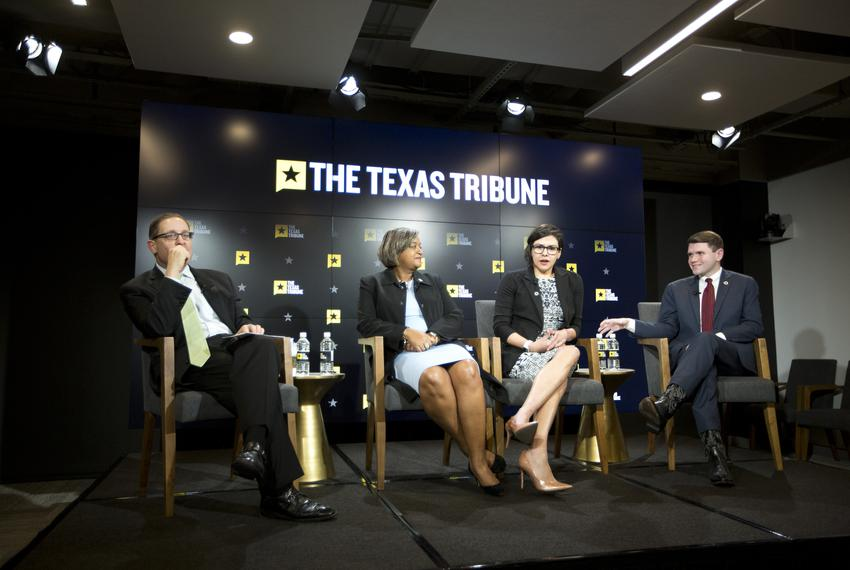 From left: Texas Tribune CEO Evan Smith moderates a discussion with newly-elected state Reps. Rhetta Bowers, D-Garland; Jess…