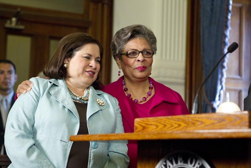 State Sen. Leticia Van de Putte, D-San Antonio, stands with state Rep. Senfronia Thompson, D-Houston, on May 25, 2011, as ...
