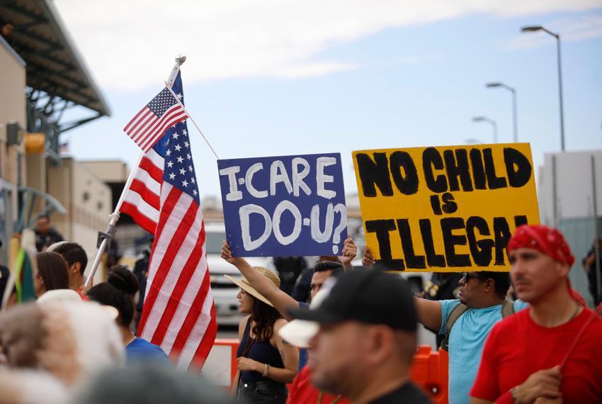 "Demonstrators during the ""Families Belong Together"" in el Paso on June 30, 2018."