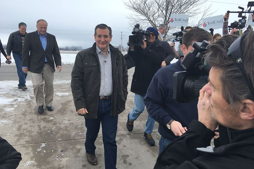 U.S. Sen. Ted Cruz arrived Jan. 4 at the first stop on a six-day tour of Iowa. The Republican presidential candidate was set to visit 28 counties by bus.