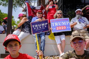 Trump supporters greeted campaign surrogates — former campaign manager Brad Parscale, senior adviser Katrina Pierson and Texas Lt. Gov. Dan Patrick — during a bus tour stop on Sept. 3, 2020 in San Antonio.