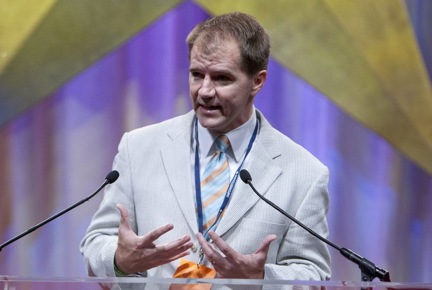 Texas Supreme Court Justice Don Willett onstage at the Republican Convention in Dallas on June 15, 2010.