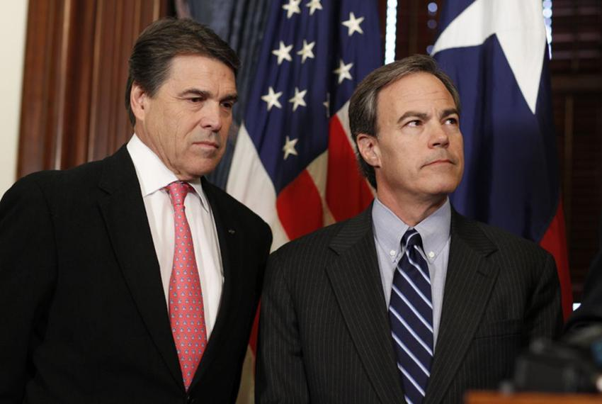 Governor Rick Perry, Speaker Joe Straus and Lt. Governor David Dewhurst after their first weekly breakfast meeting saying th…