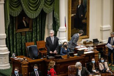 Lt. Gov. Dan Patrick presides over the Senate session on March 20, 2021.